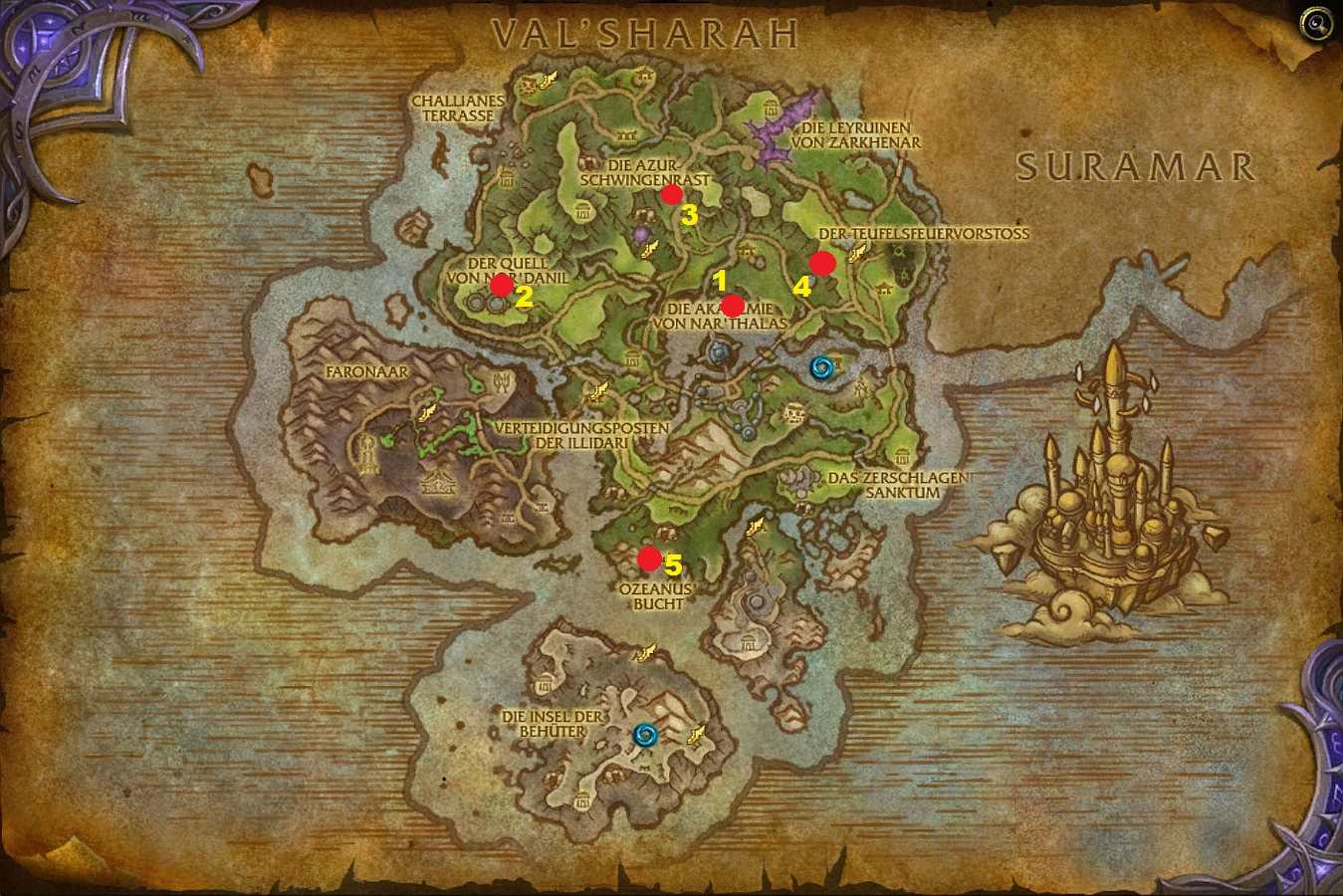 WoW Legion Azsuna Hippogryph Map Numbers