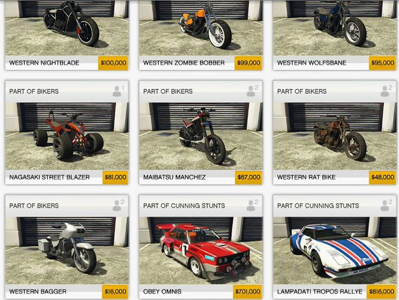 Grand Theft Auto Online New Cars