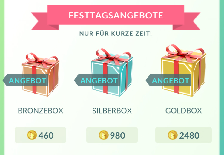Pokemon GO Boxen Shop Bronze Silber Gold