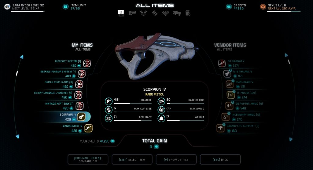 Mass Effect Andromeda Inventory