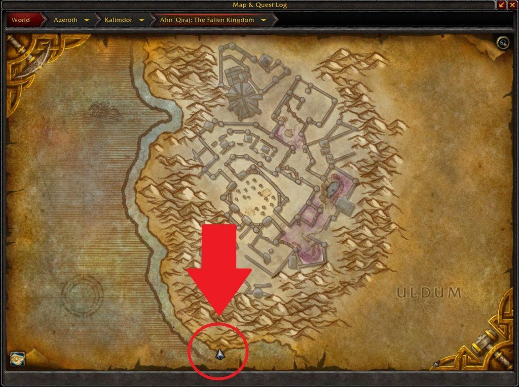 WoW Seltsame Orte Ahn Qiraj Cavern arrow