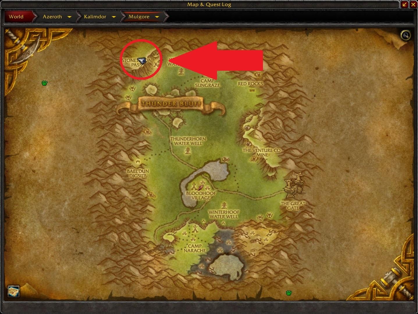 WoW Seltsame Orte Critterkiller Map arrow