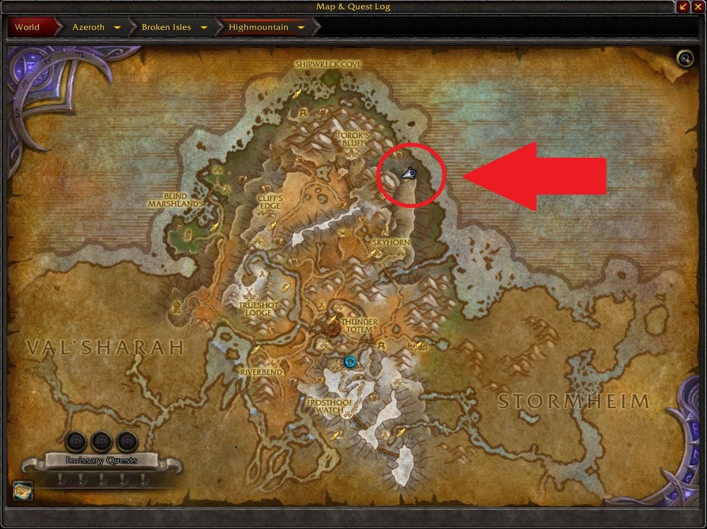 WoW Seltsame Orte Highmountain Prepfoot Map arrow