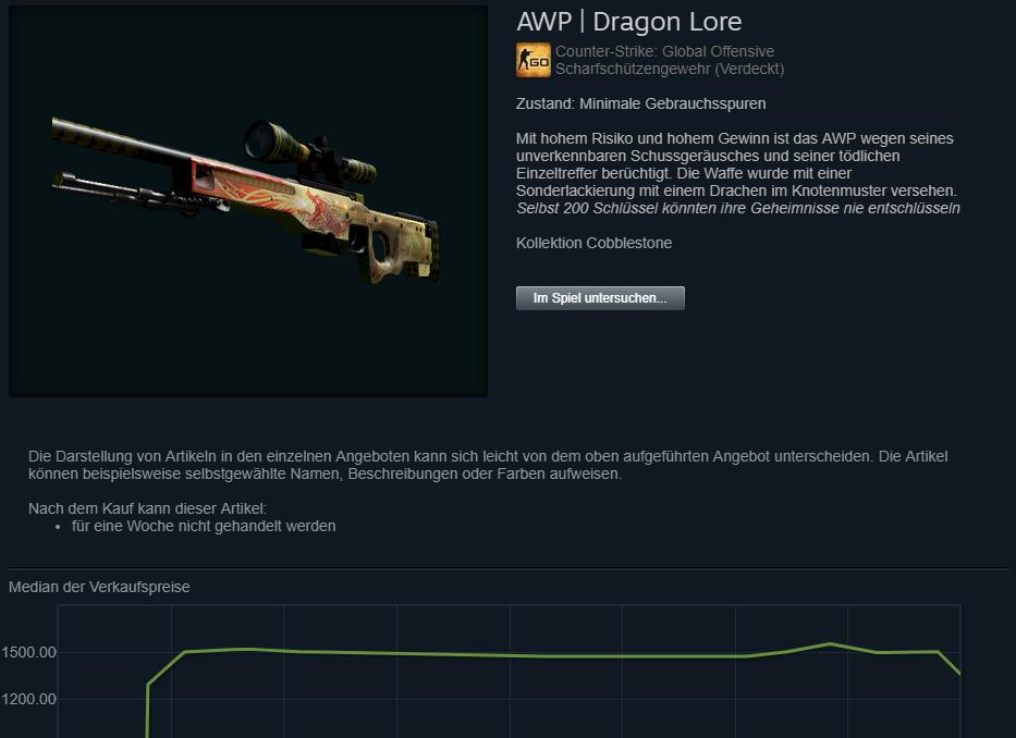 CSGO Dragon Lore Skin Preis Steam
