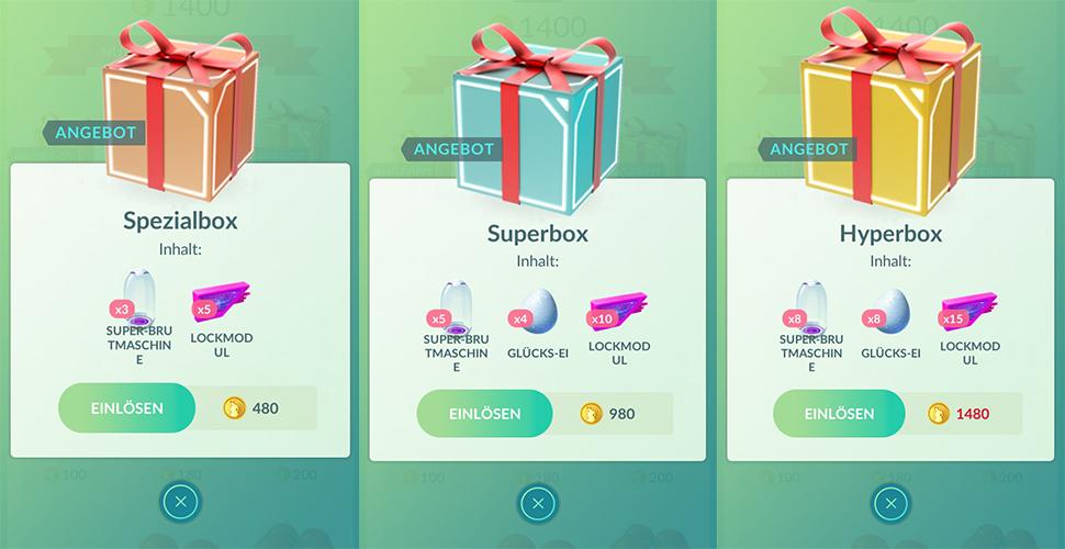 Pokémon GO Boxenvergleich