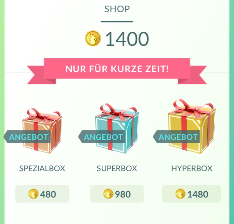 Pokémon GO Shop Pakete