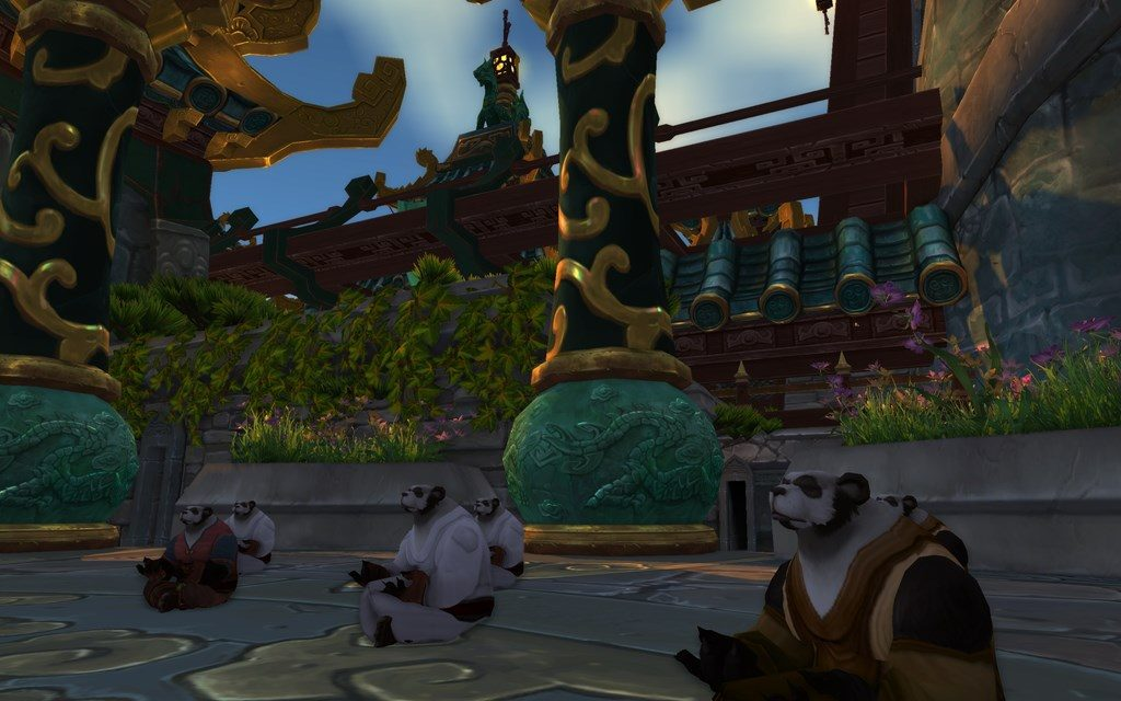 World of Warcraft Meditating Pandaren monks at the Temple of the Jade Serpent
