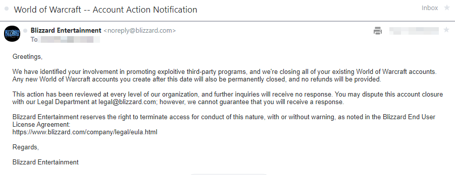 WoW Application Ban Honorbuddy Mail