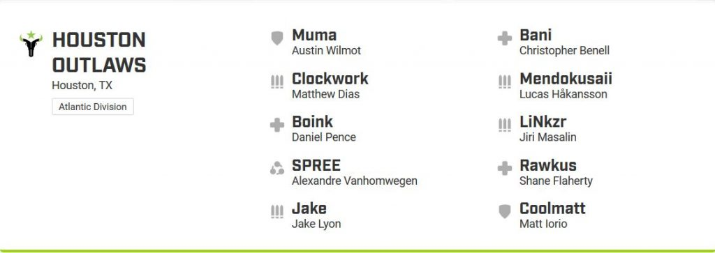 Overwatch League Houston Outlaws Roster