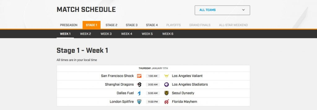 Overwatch League Match Schedule