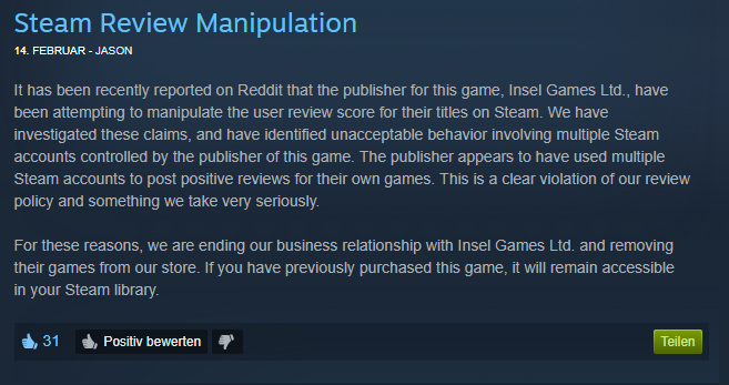 Manipulierte Reviews: Publisher Insel Games fliegt aus Steam