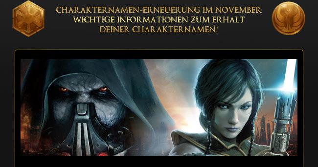 SW:TOR: Achtung Eure Charakternamen sind möglicherweise in Gefahr!