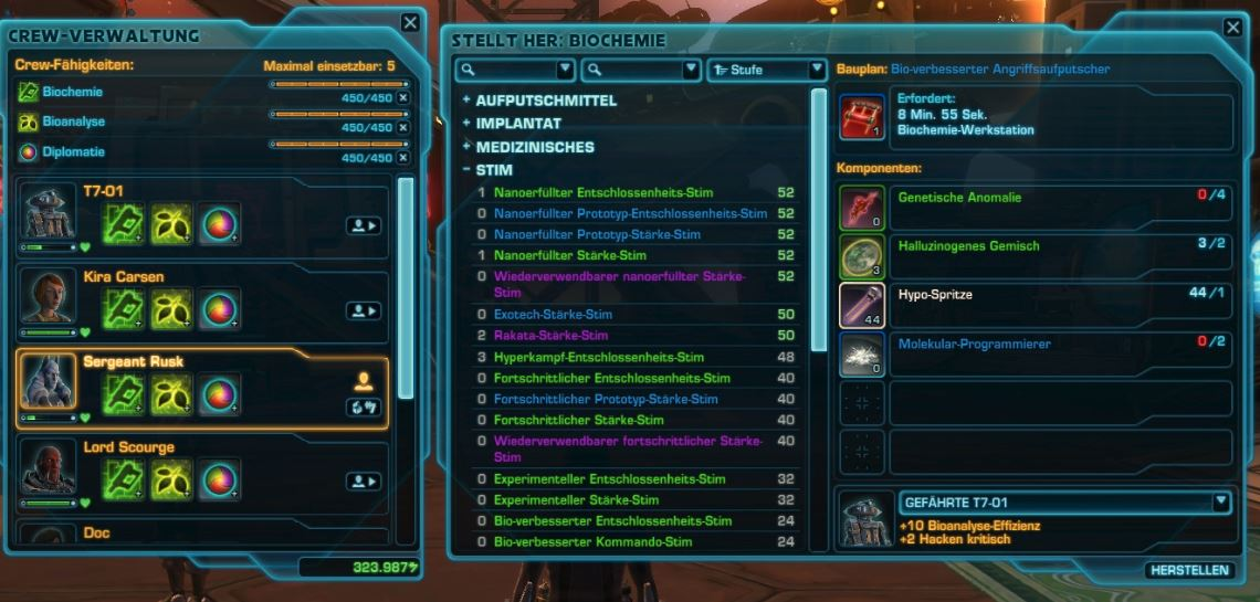 Crafting in SWTOR