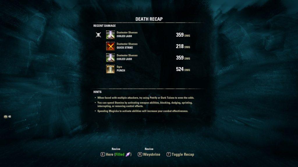 The Elder Scrolls Online: Death Recap