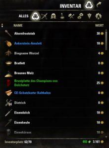 Inventar in The Elder Scrolls Online