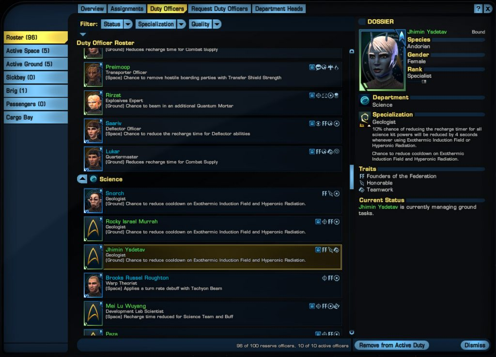 Star Trek Online: Duty Officer System