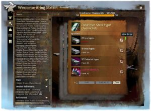 Guild Wars 2 Crafting UI