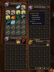 World of Warcraft Rucksack UI