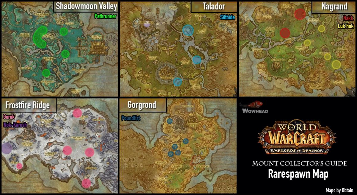 Warlords of Draenor Rare Mounts Map