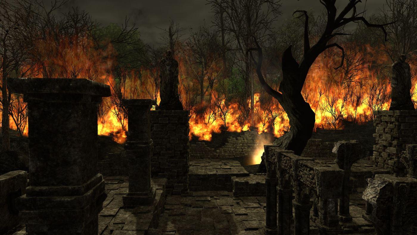 Shroud of the Avatar Dorf brennt