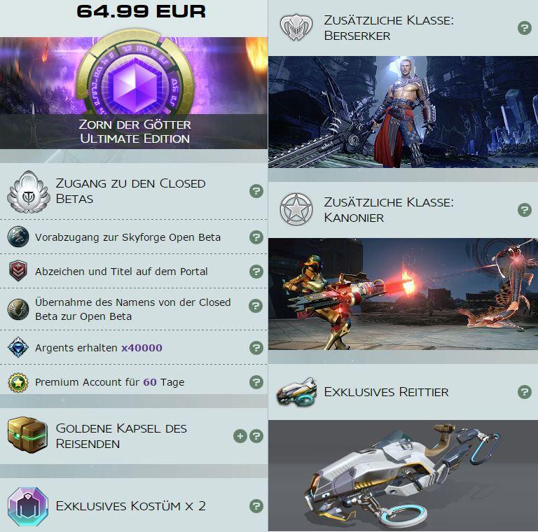 Skyforge Gründerpaket Zorn der Götter Ultimate Edition