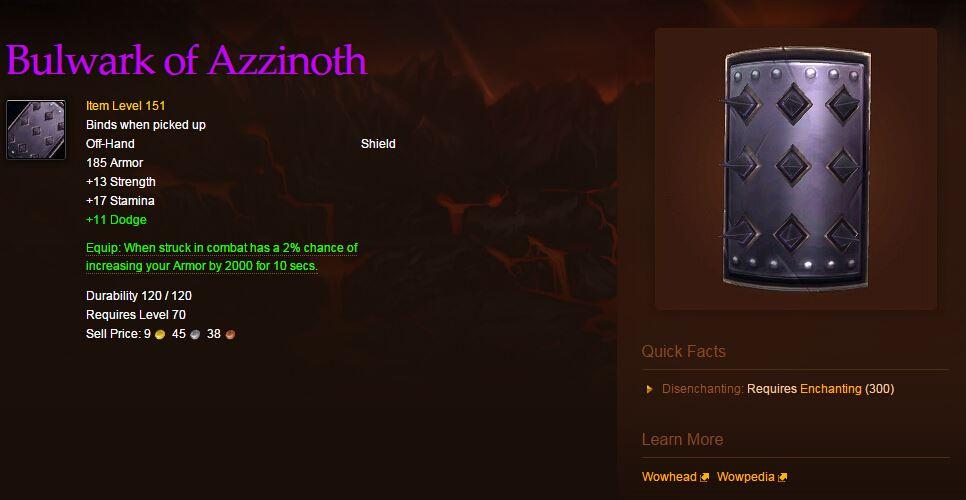 World of Warcraft Schild Azzinoth
