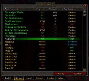 Characternames WoW Server List