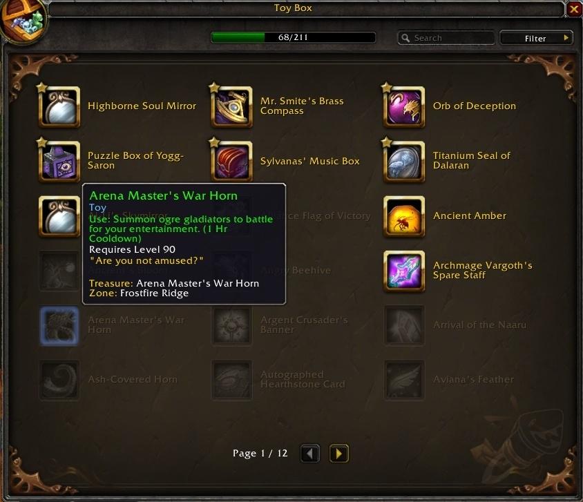 """Bei World of Warcraft werden Spielzeuge in einen Setzkasten gelegt - freie Plätze sagen: """"Das muss noch gefunden werden."""""""