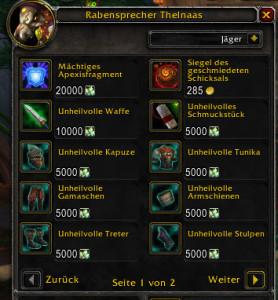World Of Warcraft 695er Waffen Und Rüstungen Gibts Gegen