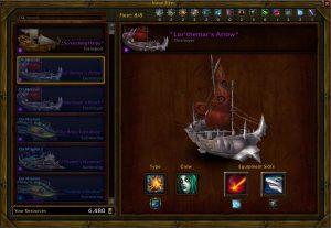 Jedes Schiff hat 4 Slots, aber nur 2 können verändert werden.