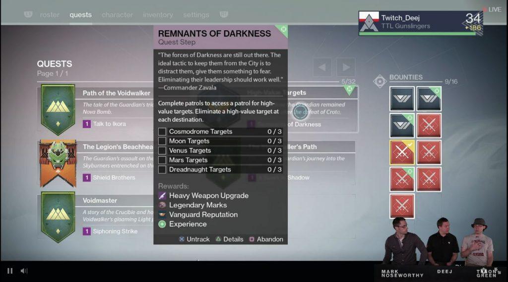 Destiny Taken King Stream Quest Tab Weapon