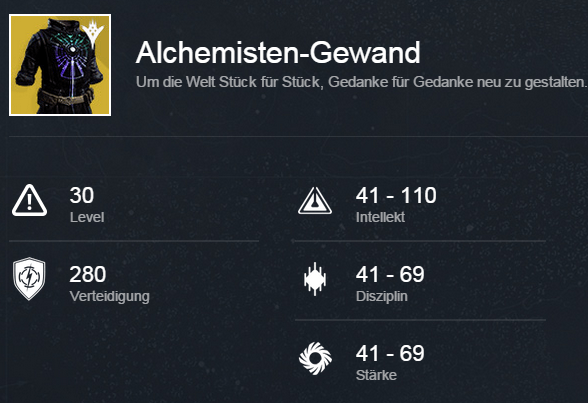 Alchemisten-Gewand-Stats