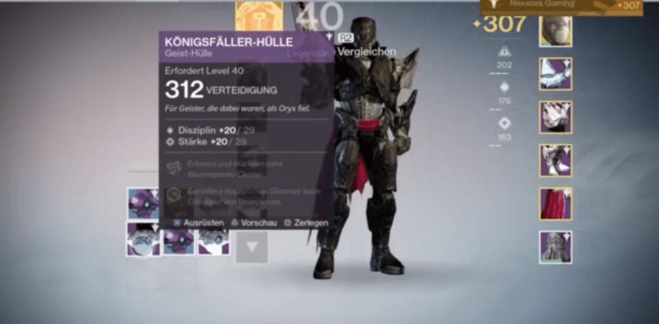 Hier ist der erste erwähnenswerte Loot: Eine Geisthülle mit Verteidigungswert 312.