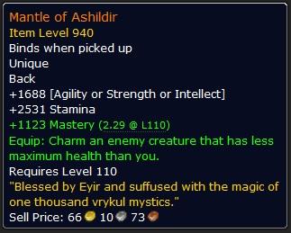 WoW Legendary Mantle of Ashildir