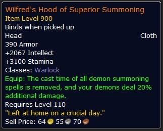 WoW Legendary Wilfreds Hood of Superior Summoning