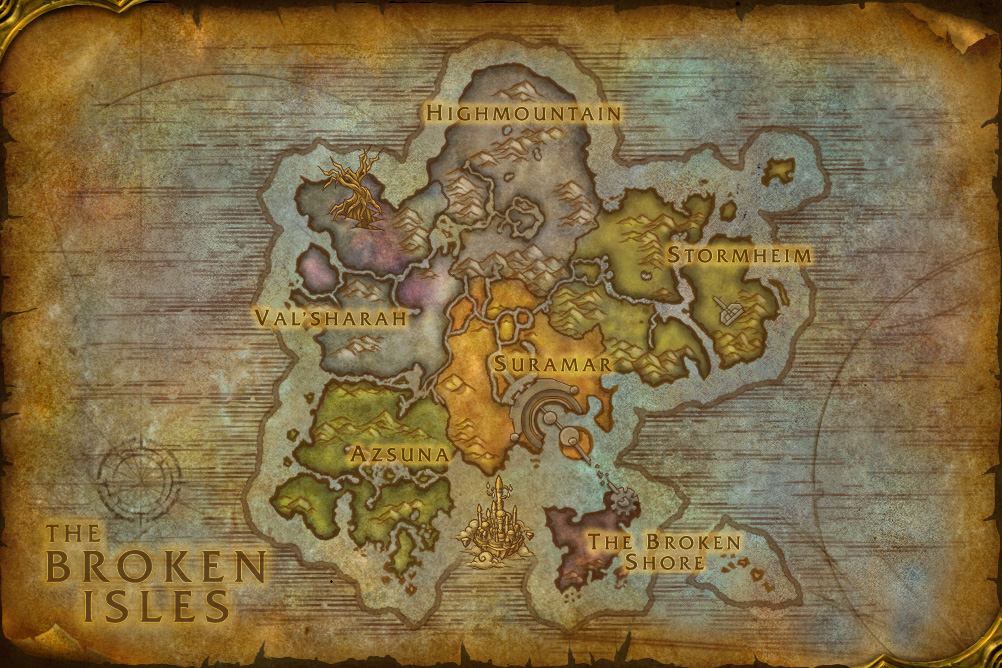 WoW Legion broken isles map