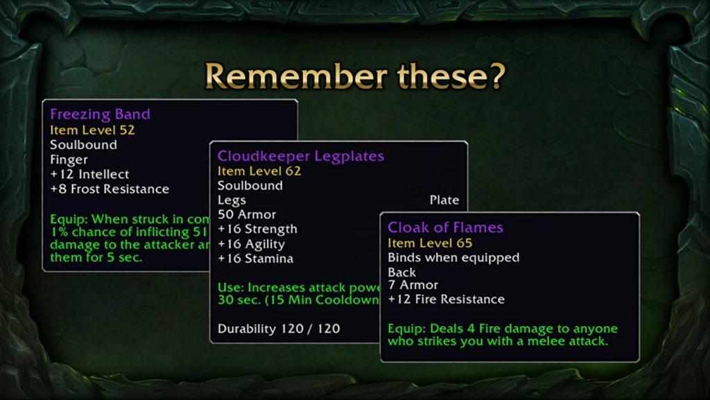 In Classic waren dies begehrte Gegenstände, die jedem Spieler den Tag versüßt haben.