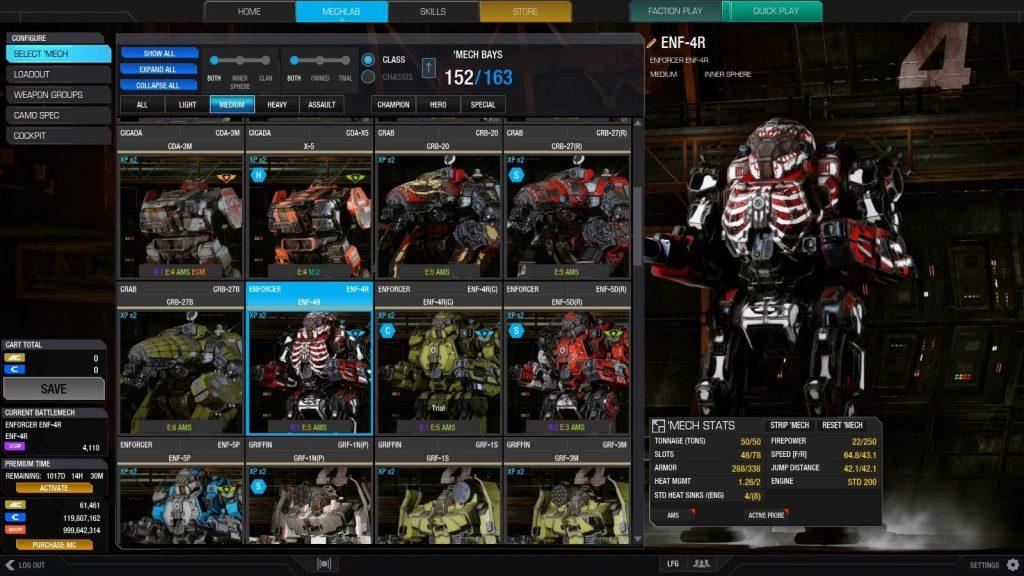 MechWarrior Online Screenshot Mechbay