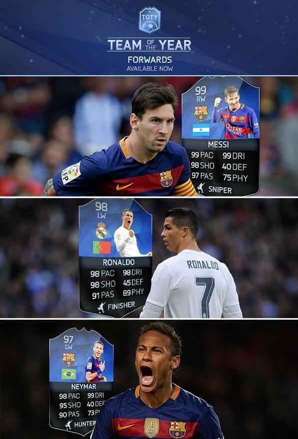 Neymar Messi Ronaldo TOTY FIFA 16