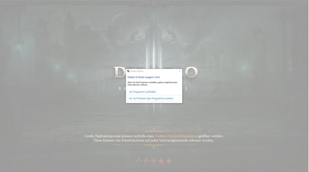 Diablo 3 reagiert nicht mehr