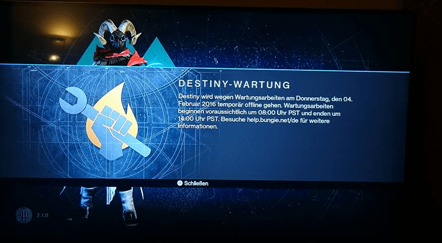 Destiny-wartung