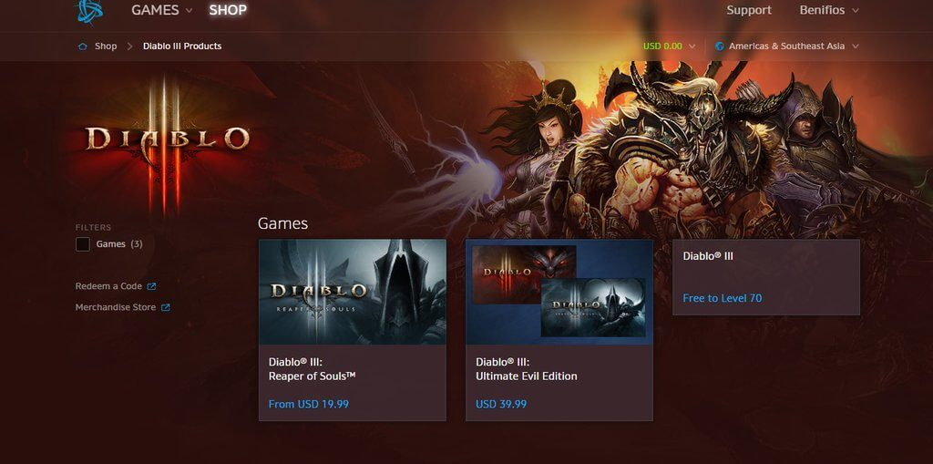 Diablo 3 Shop Screenshot free to play