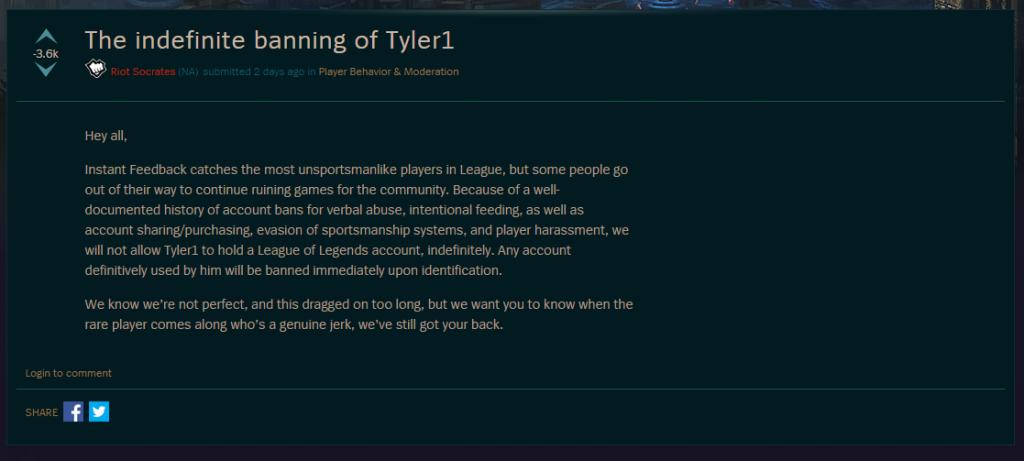 LoL Tyler1 ban offiziell