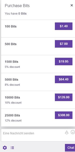 Twitch Bits Preise