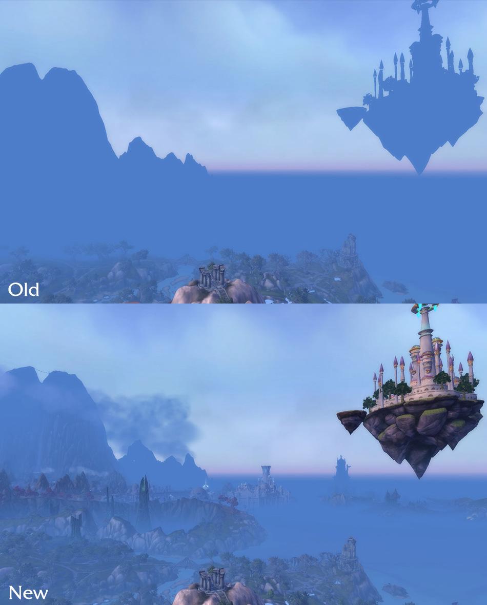 WoW Legion Draw Distance Shattered Isles Dalaran