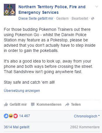Pokemon Go Polizei Hinweis