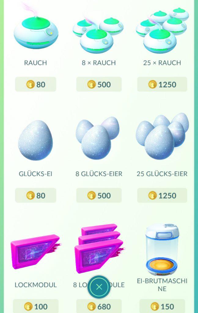 Pokémon GO Shop Rauch, Glücks Ei, Lock Modul, Brutmaschine