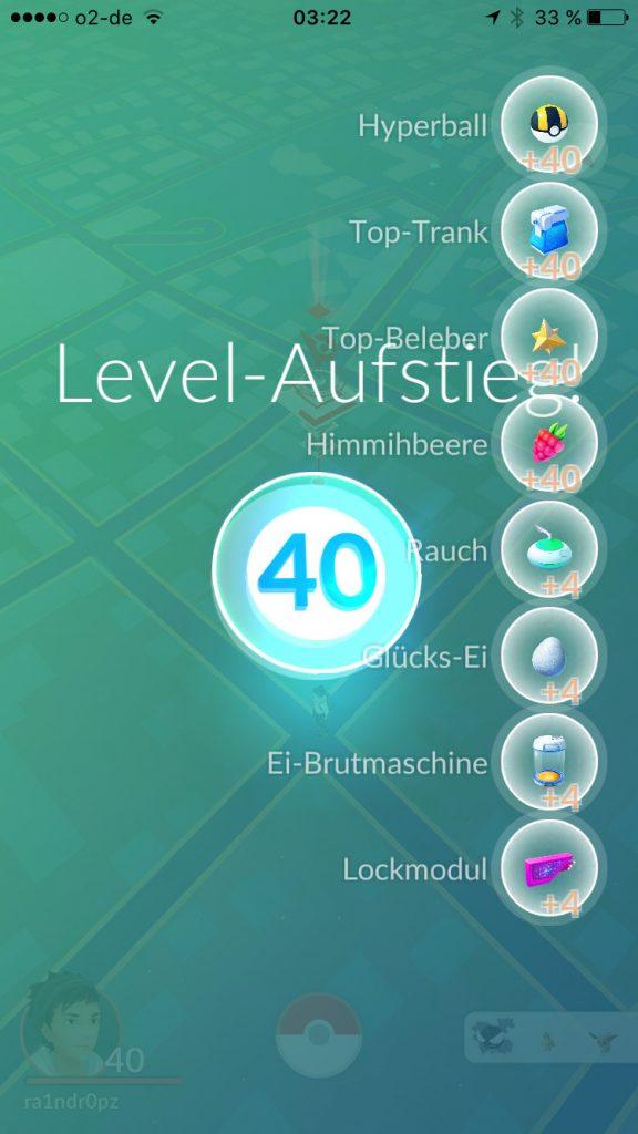 Pokémon GO Aufstieg Belohnung