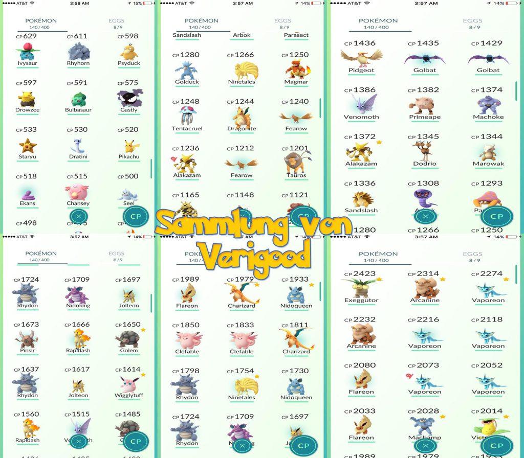 Pokemon GO Sammlung seltene Pokémon