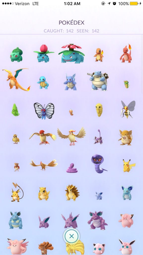 Pokémon GO Pokedex gefangen